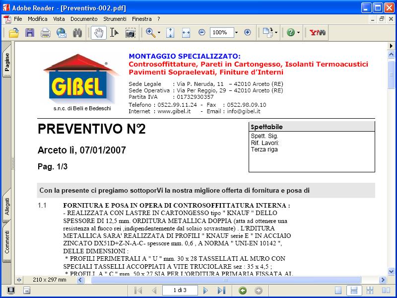 Esportazione preventivo in formato Adobe Acrobat (PDF)