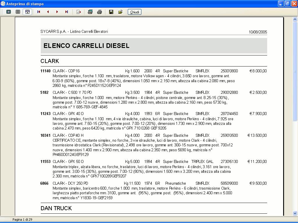 Anteprima di stampa listino carrelli elevatori