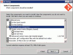 Opzioni scelte per l'installazione di msysGit