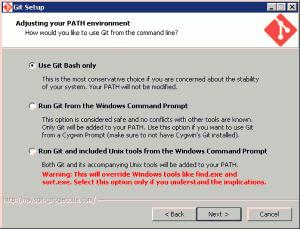 Opzioni d'installazione di msysGit