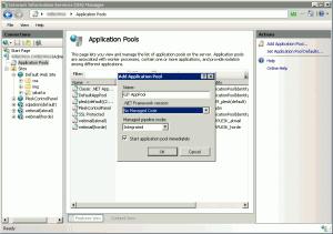Opzioni scelte per l'application-pool dei repository Git