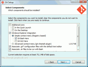 Opzioni d'installazione di Git sul client