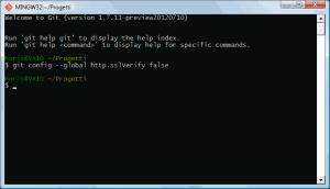 Sopprimere il controllo dei certificati SSL in Git