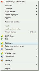 Menù di contesto di TortoiseGit per clonare un repository